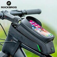 ROCKBROS bolsa para teléfono para bicicleta, resistente al agua, con pantalla táctil de 5,8/6 pulgadas, accesorios para ciclismo de montaña