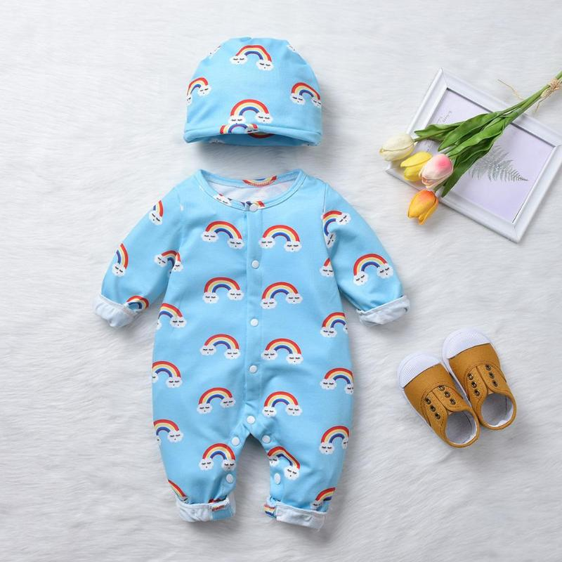 2pcs/set Toddler Baby Rompers Long Sleeve Clothes Rainbow Print Romper With Hat Suits