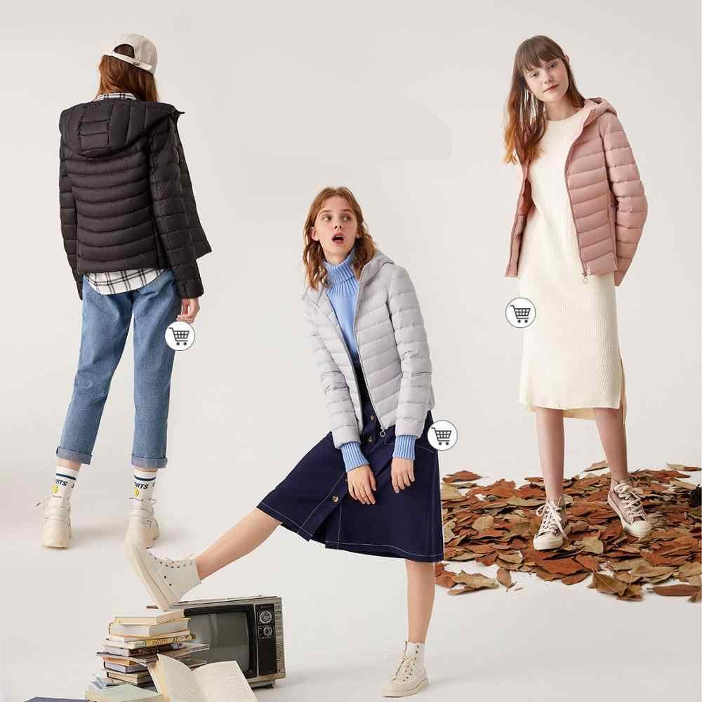 SEMIR 2019 새로운 겨울 다운 재킷 여성 겨울 플러스 벨벳 후드 코트 겨울 자켓 코트 여성 Outwear 따뜻한 휴대용