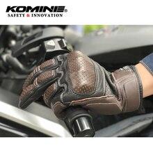 Novo komine GK-217 retro motocicleta luvas de couro dos homens marrom motor cruz rua aventura moto luva guantes de moto