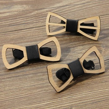 Bamboo and wooden hollow bow tie creative fashion b06