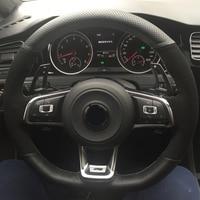 DIY Carbon fiber Black Suede Car Steering Wheel Cover for Volkswagen Golf 7 GTI Golf R MK7 Polo Scirocco 2015 2016
