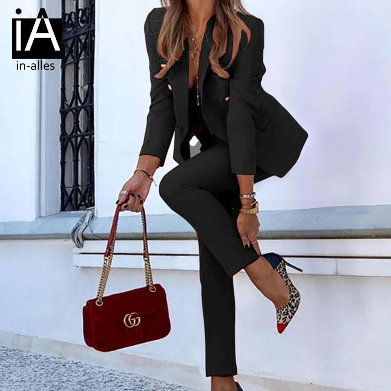 Fashion Solid Women Blazer Suits Long Sleeve Double breasted Blazer Pants Set 2020 Autumn Office Two-piece Blazer Pant Suit