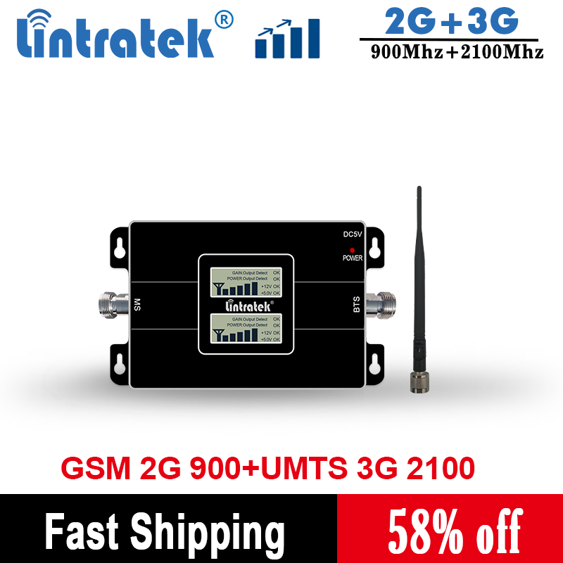 Lintratek 2G 3G GSM 900 WCDMA 2100 Dual Band Mobile Phone Signal Repeater GSM 3G UMTS Cellular Booster Amplifier KW17L-GW