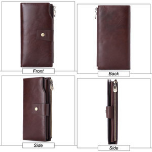 Image 2 - GENODERN Business Men Wallet Clutch Genuine Leather Organizer Purse Brand Male Money Bag Cell Phone Bag Long Zipper Clutches