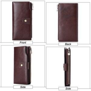 Image 2 - Genodern negócios homens carteira de embreagem couro genuíno organizador bolsa marca masculino saco de dinheiro celular longo zíper garras