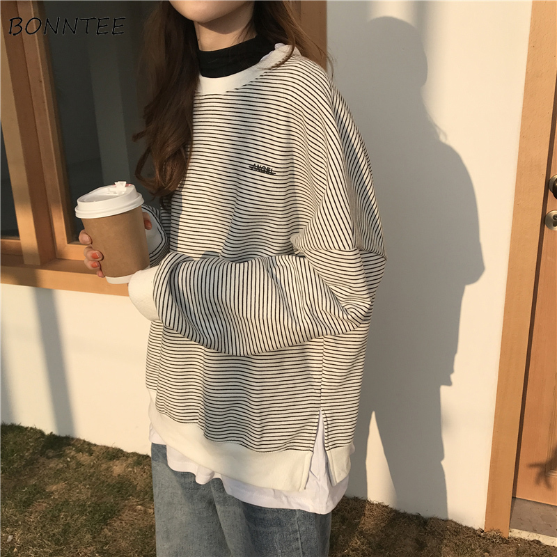 Hoodies Women Stripe Simple Ulzzang Loose Large Size Sweatshirt Korean Style Thin All-match Student Womens Clothes Chic Casual