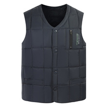White Duck Down Jacket Vest Men Winter Warm Sleeveless V-neck Button Down Lightweight Waistcoat Fashion Casual Male Vest M111406 cheap Thick (Winter) REGULAR Single Breasted Solid Broadcloth NONE Polyester 100g 200G blue green gray coffee L-4XL