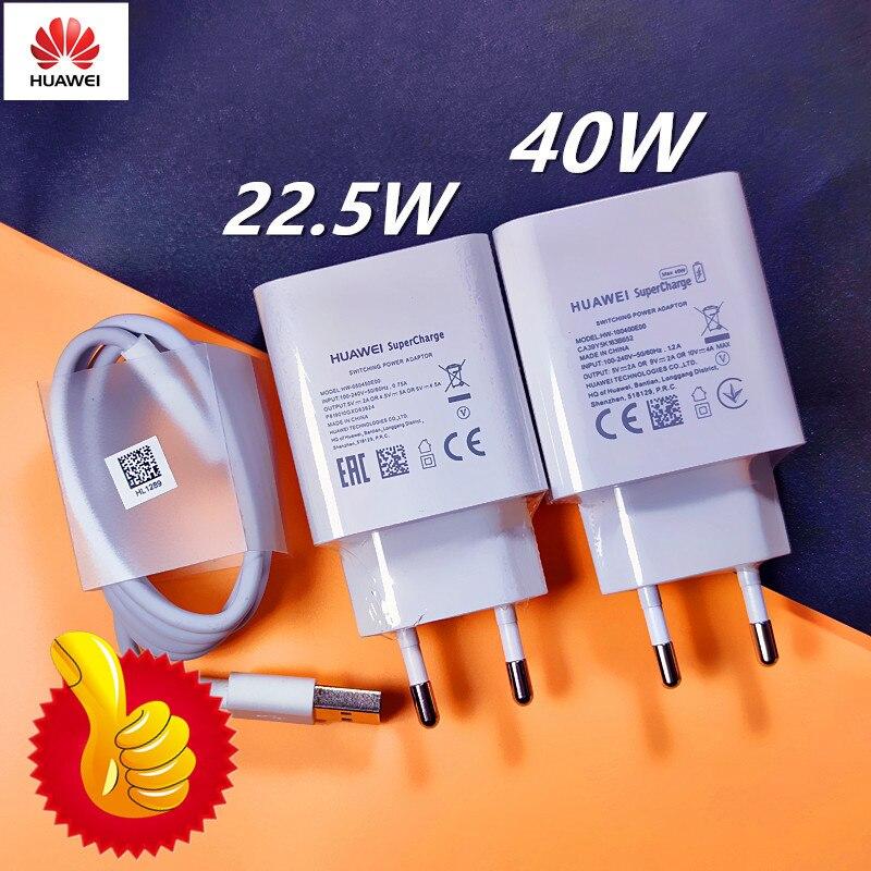 Huawei original carregador rápido 40w 22.5w supercharge tipo c cabo para huawei p30 p40 p10 p20 pro lite companheiro 9 10 pro companheiro 20 v20|Carregadores de celular|   -