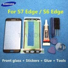 ด้านหน้าด้านนอกกระจกเปลี่ยนเลนส์สำหรับ Samsung Galaxy S7 EDGE G935 G935F G935FD S6 EDGE G925F LCD & b 7000 กาวเครื่องมือ