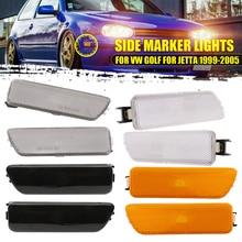 Передние боковые габаритные огни сигнальные лампы индикатора для Volkswagen Golf Jetta Bora MK4 1999-2005 мигалка желтый черные линзы в золотистой оправе