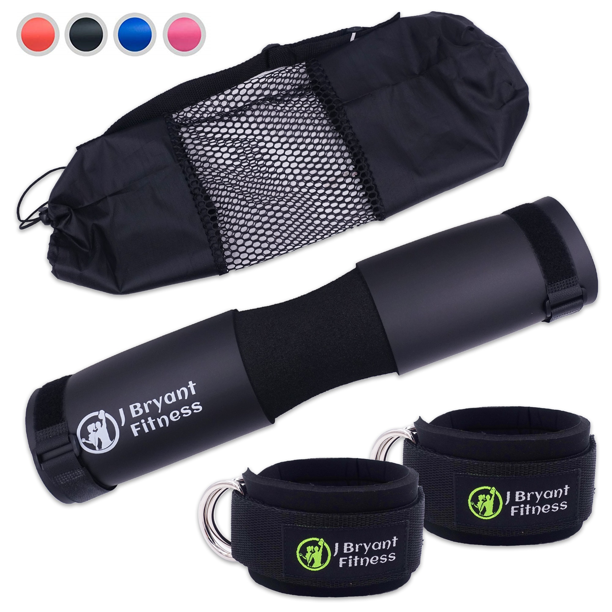 Fitness Foam Barbell Pad And Ankle Strap Set For Resistance Booty Gym Weight Lifting Hip Thrust Squat Neck Shoulder Protective