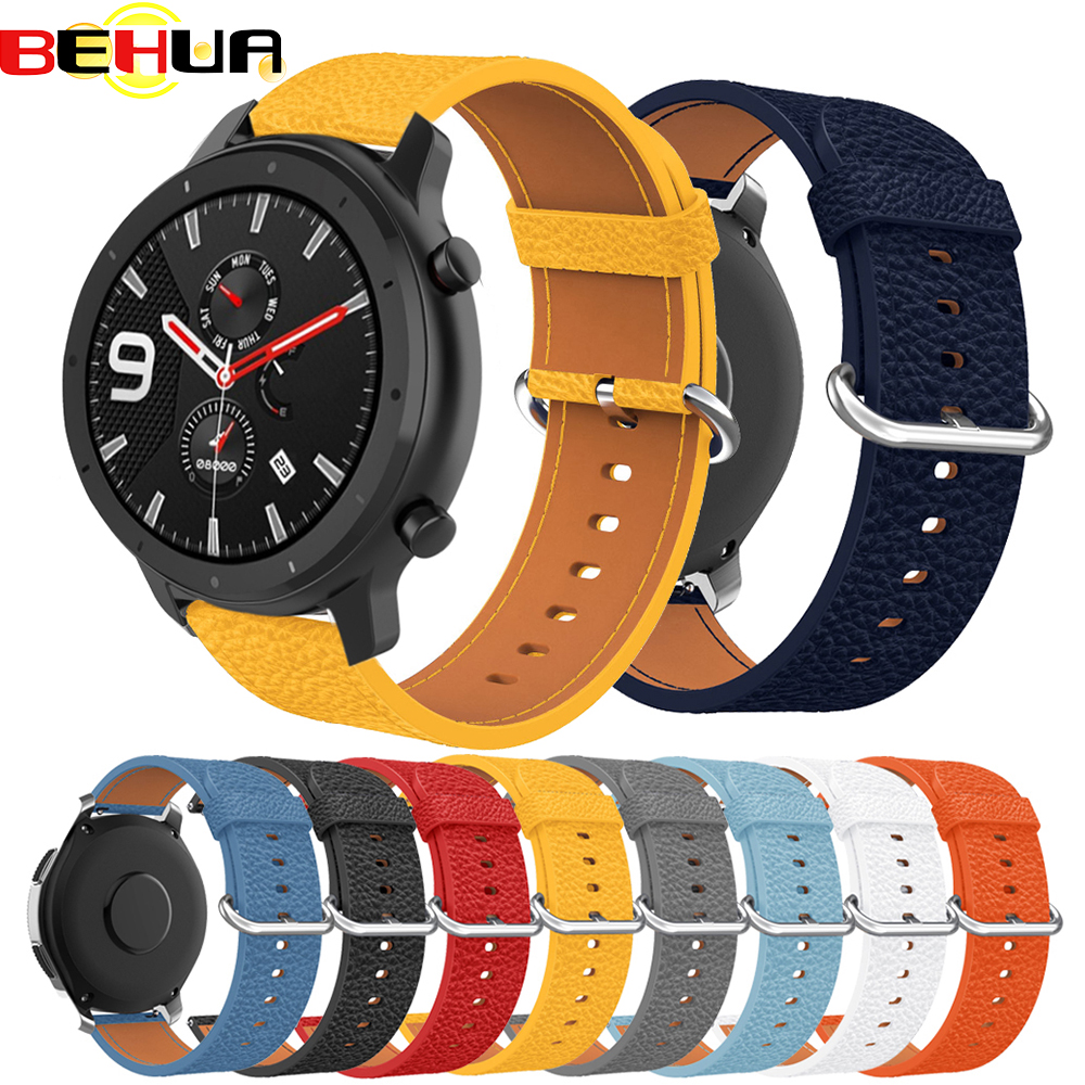 22mm Bands For Huami Amazfit GTR 47mm Watch Strap Leather Smartwatch New Wristband Bracelet For Huawei Watch GT/Honor Magic Band