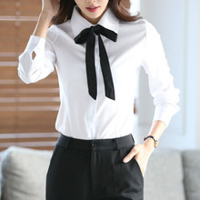 Women Blouse Casual Long Sleeve Bow Tie Turn Down Collar Blouses Spring Autumn White Shirt Blusas Office Ladies Tops Korean new plus size women tops blouses long sleeve button turn down collar contrast color spring autumn casual ladies shirts blusas