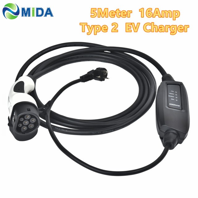 DUOSIDA EVSE 5Meter 16A Type 2 Mennekes EV Charger Type 2 EU Schuko Electric Vehicles IEC62196 EV Charging Cable for Car