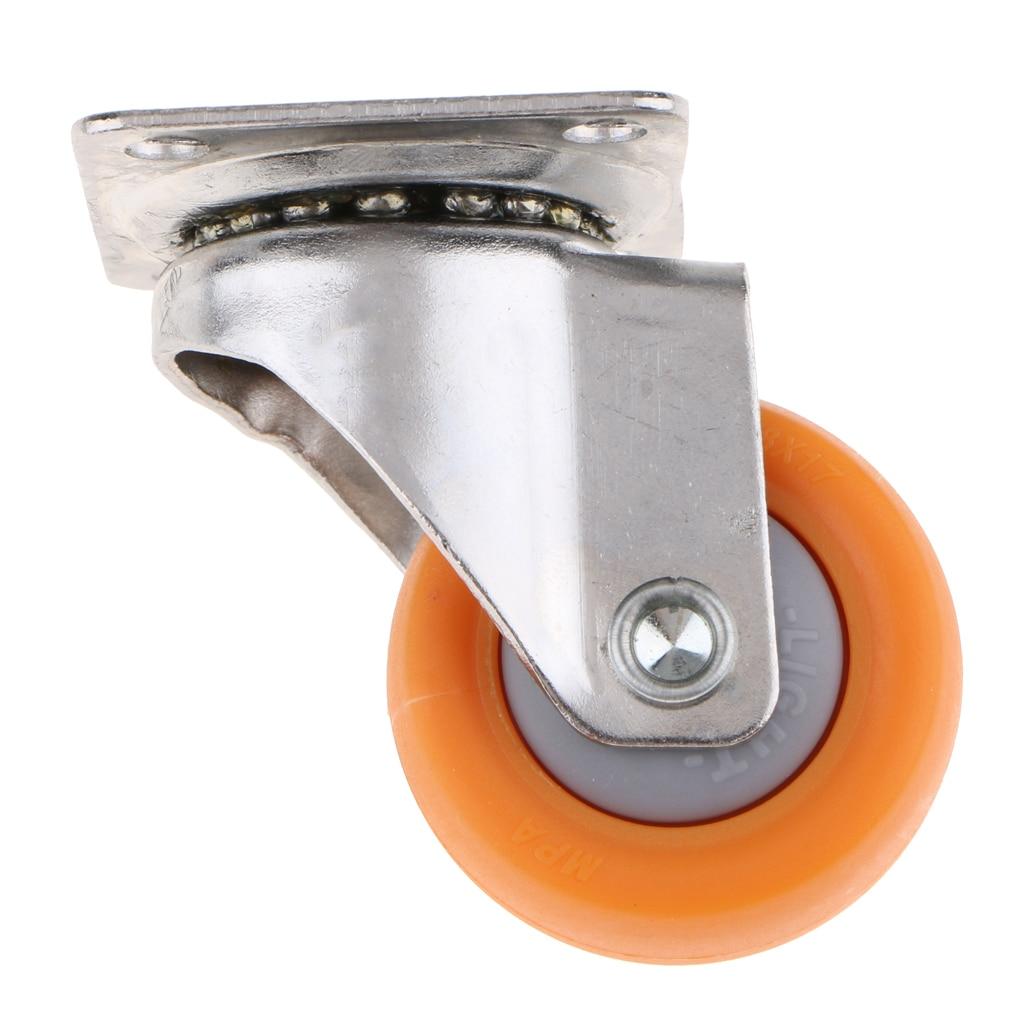 4pcs All Swivel Bearing Ball Plate Caster 25kg Home Furniture Orange Nylon Wheel Dia. 1.5inch
