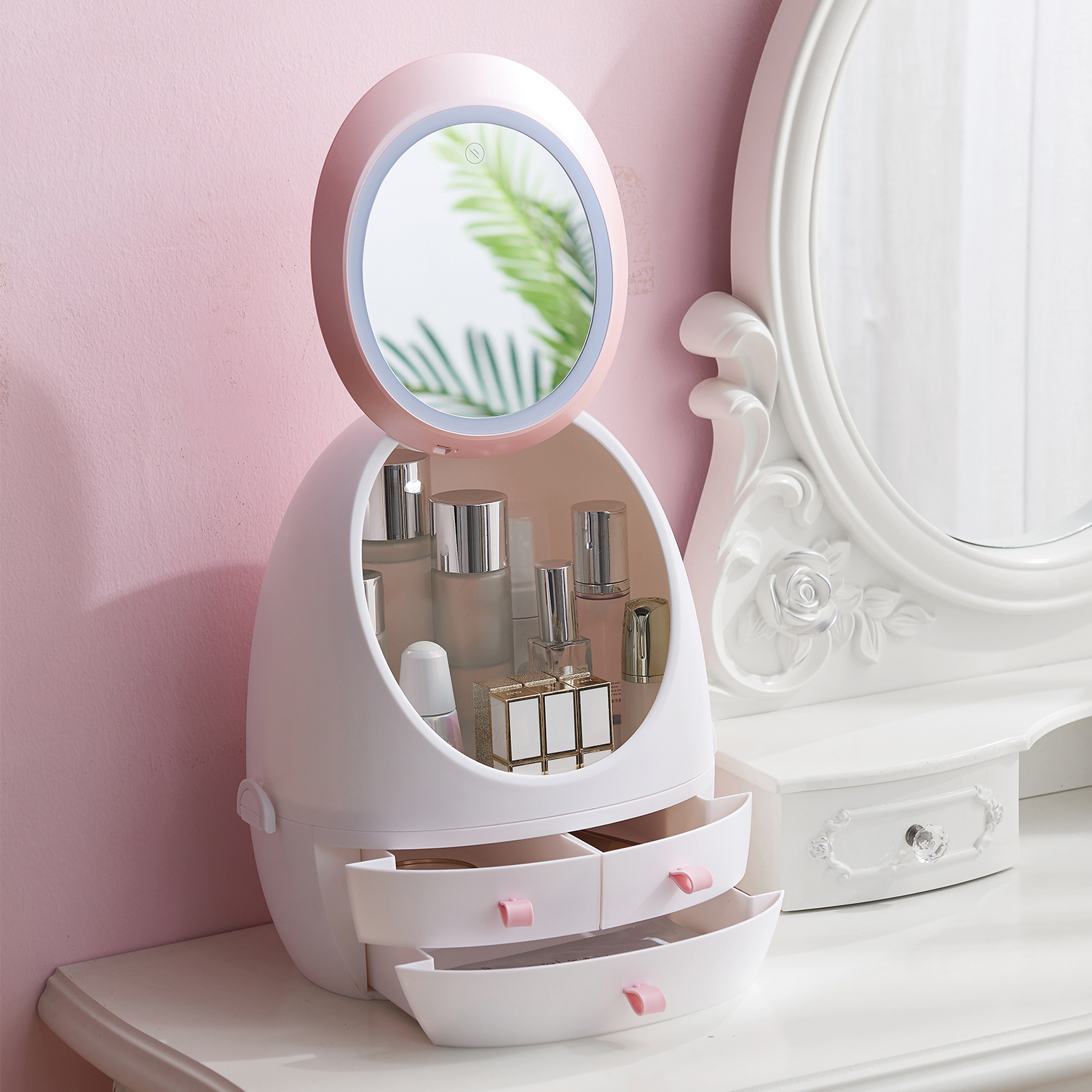 USB Rechargeable Waterproof Mirror LED Light Makeup Organizer Cosmetic Storage Box Portable Jewelry Container Dust Proof Drawer
