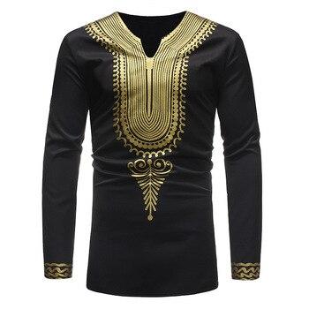 Classic V Neck T Shirt Men 2018 Autumn New African Dashiki Print Tee Shirt Homme Streetwear Tshirt Traditional African Clothing