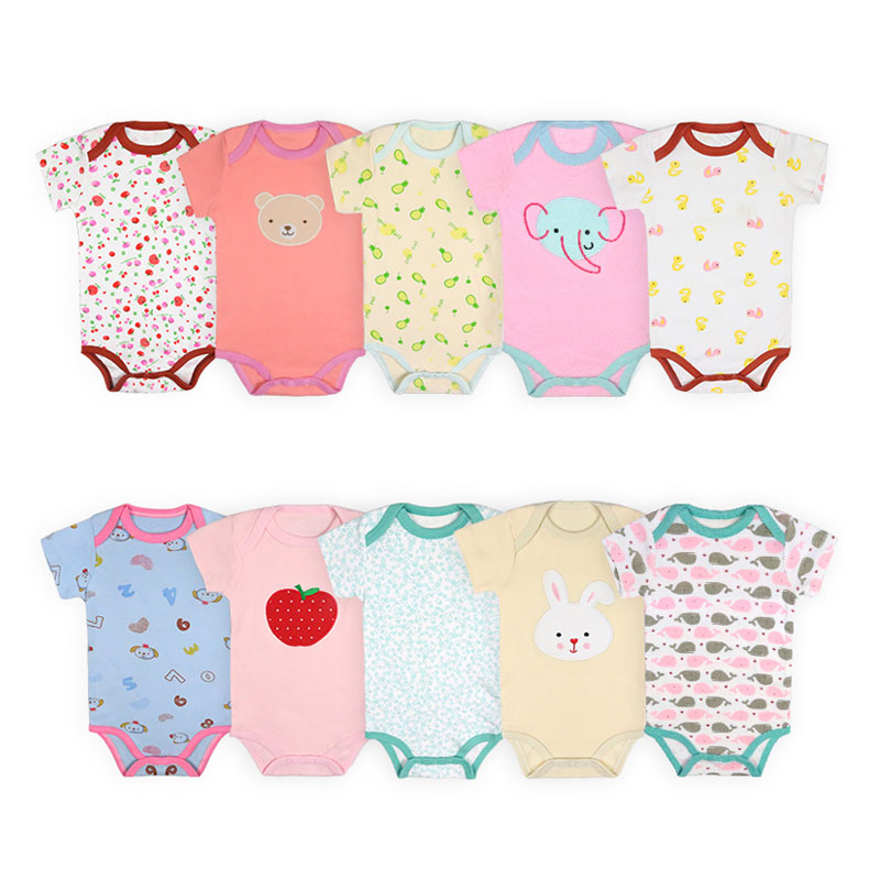 [2 Pcs/Lot Random Color]Elvesnest Baby Bodysuit Summer Newborn Baby Clothes Cotton Short Sleeve Toddler Bodysuit 3-24 Months
