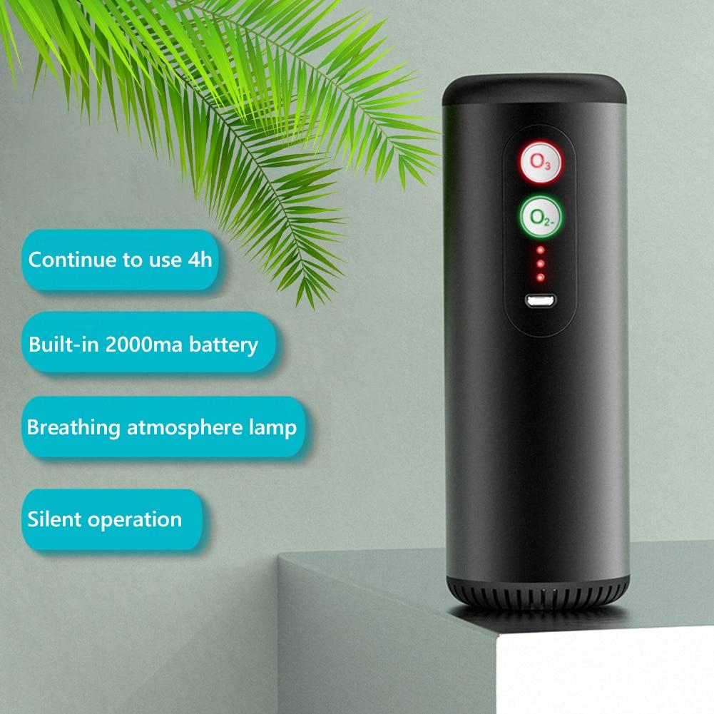 Black Portable Car Air Purifier USB Rechargeable Ionizer Ozone Generator