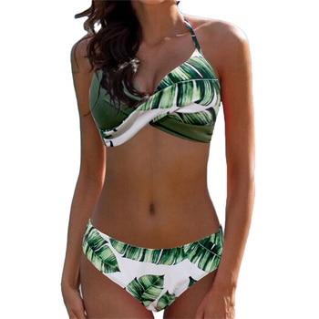 MUOLUX 2020 Sexy Bikini Set Two Piece Swimwear Women Swimsuit Tankini Swimsuit Lattic Bandage Push Up Beach wear Bathing Suits 1