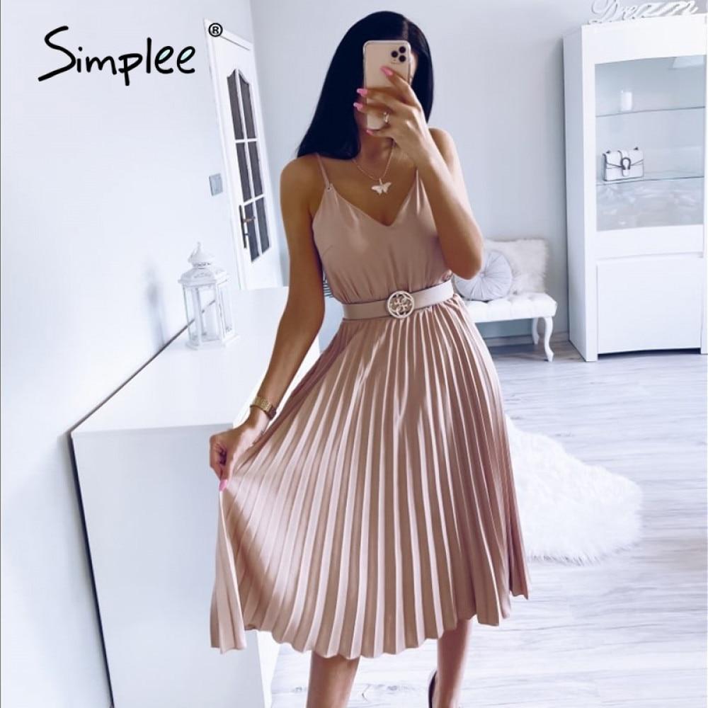Simplee Sexy v-ausschnitt frauen party kleid Elegante spaghetti strap weibliche gefaltetes büro kleid Solide weibliche rosa midi sommer kleider