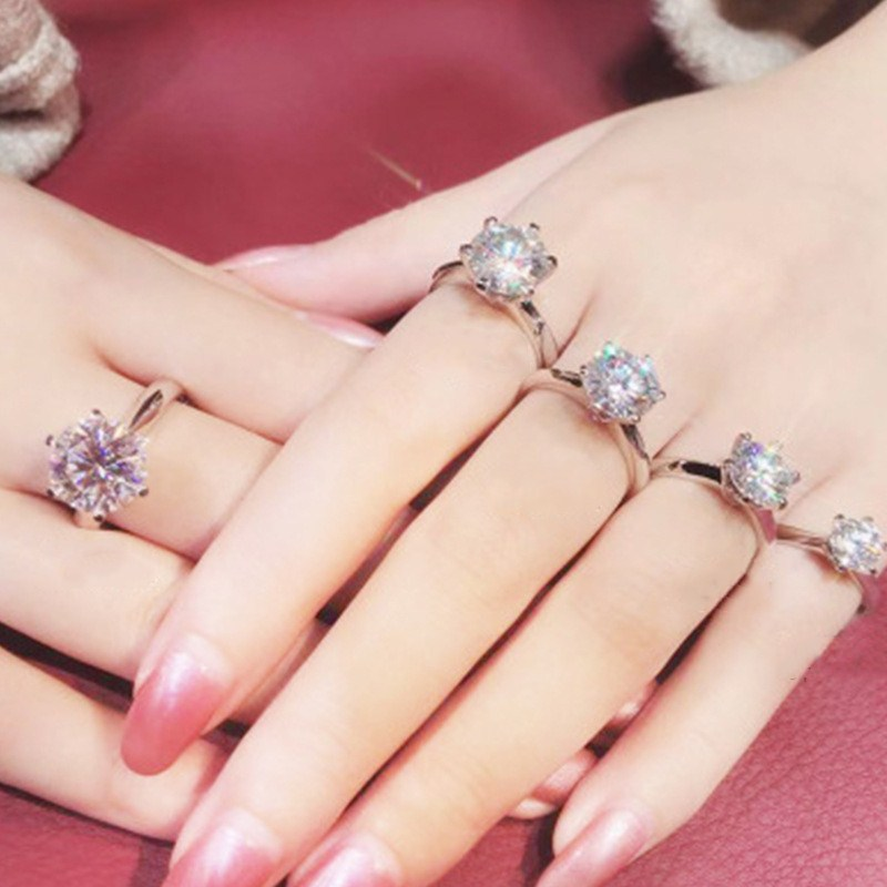 CC Rings For Women Classic Jewelry 6 Claws Cubic Zirconia Bridal Wedding Engagement Accessories Bijoux Drop Shipping CC1611 4