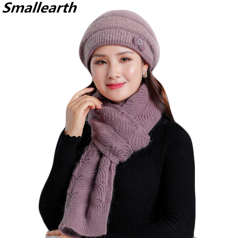 New Winter Women Rabbit Fur Hat Scarf Set Warm Wool Knitted Plush Hat Scarf Sets Crochet Bonnet Mom Cap Gifts Thick Scarf Shawl