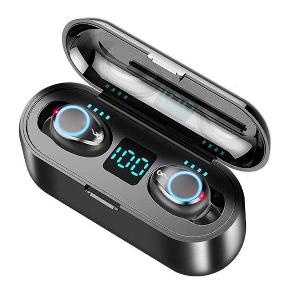 F9 TWS Breathing Light Smart Touch <font><b>8D</b></font> Stereo Wireless Bluetooth <font><b>Earphone</b></font> 5.0 LED Display With Dual Microphone 2000 MAh Charging image