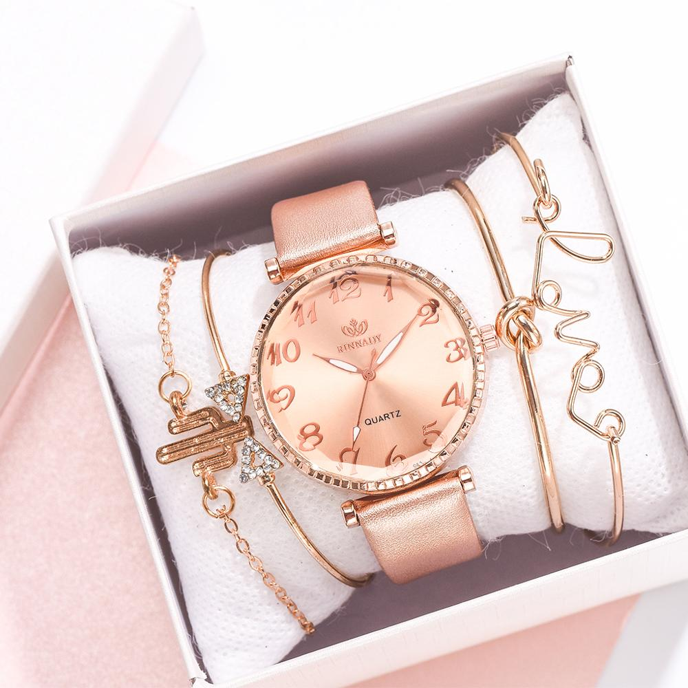 5pc/set New Fashion Women Watches Round Arabic Numerals Leather Watch Women Dress Ladies Wristwatches Luxury Bracelet Watch Set