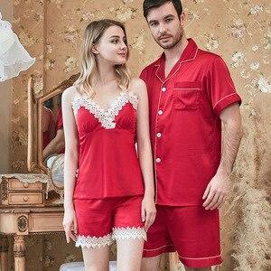 Image 4 - Frühling Und Sommer Neue Simulation Seide Paar Pyjamas Damen Strap Shorts männer Anzug Hause Kleidung Paare Pyjamas