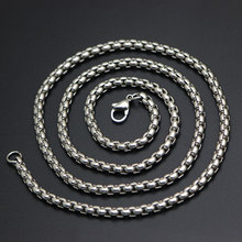 Fashion Jewelry Silver Chain 2mm 2.5mm 3mm 4mm Stainless Steel box Necklace For women men locket pendant