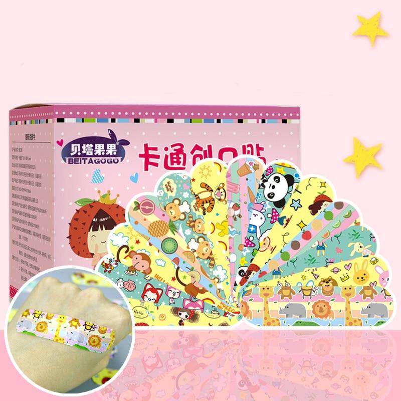 120Pcs Hemostatic Adhesive Bandages Breathable Cute Cartoon Band Aid Ventilate First Aid Emergency Kit For Kids Adhesive Bandage