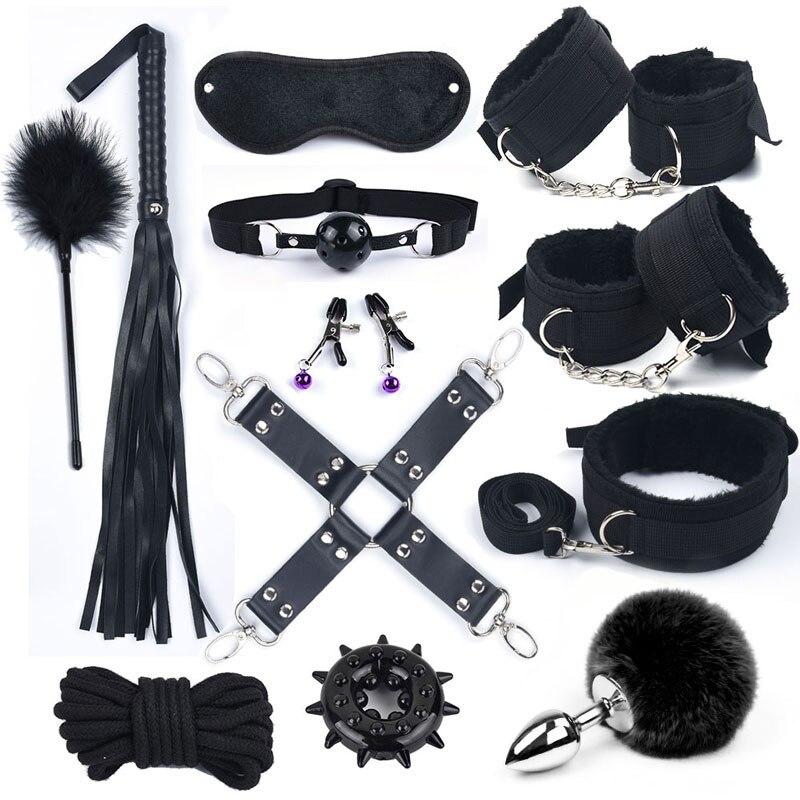 Секс-игрушки для женщин БДСМ Набор для бондажа металлическая Анальная пробка хвост нейлоновые секс наручники игры для взрослых