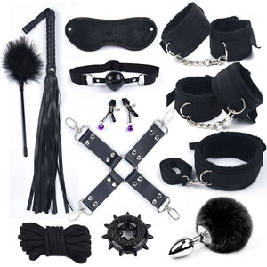 Sex Toys for Woman Bdsm Bondage Set Metal Butt Plug Tail Nylon Sex Handcuffs Adult Games