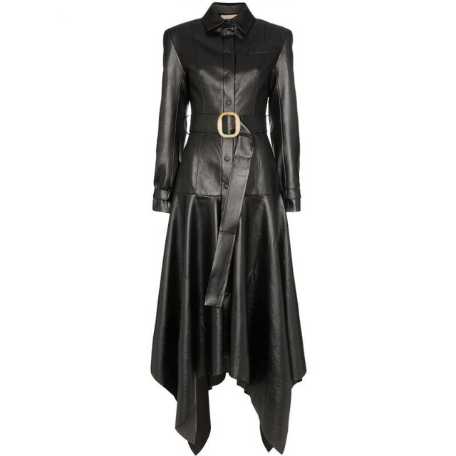 TWOTWINSTYLE PU Leather Women's Coats Lapel Collar Long Sleeve High Waist With Sashes Female Coat 2020 Autumn Fashion New