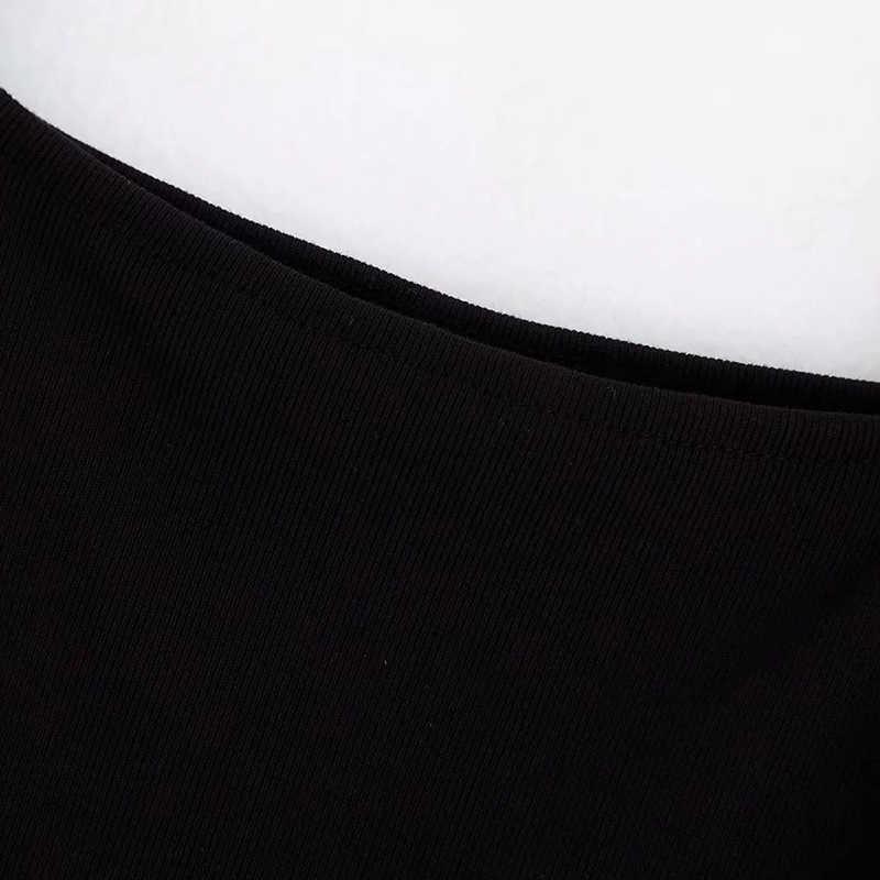 Women Fashion Knitted Mesh Fluffy Sexy Black Za Tops 2019 Summer Chic Polka Dot Long Sleeve Elastic Short Blouse For Lady Shirts