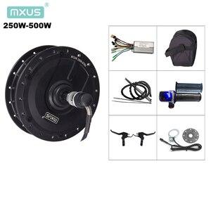 Ebike conversion kit MXUS hub motor XF07 XF08 XF15F XF15R electric bicycle kit 36V 250W 350W 48V 500W with LED display throttle(China)