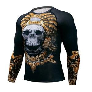 Image 2 - Muay hızlı kuru döküntü bekçi t gömlek erkekler uzun kollu Rashguard boks sıkıştırma forması kickboks sıkı t shirt MMA Fightwear