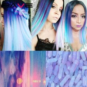 Image 2 - お気に入りオンブルかつら合成かつら虹カラフルなストレート髪の中部コスプレ耐熱繊維 Forr 黒女性