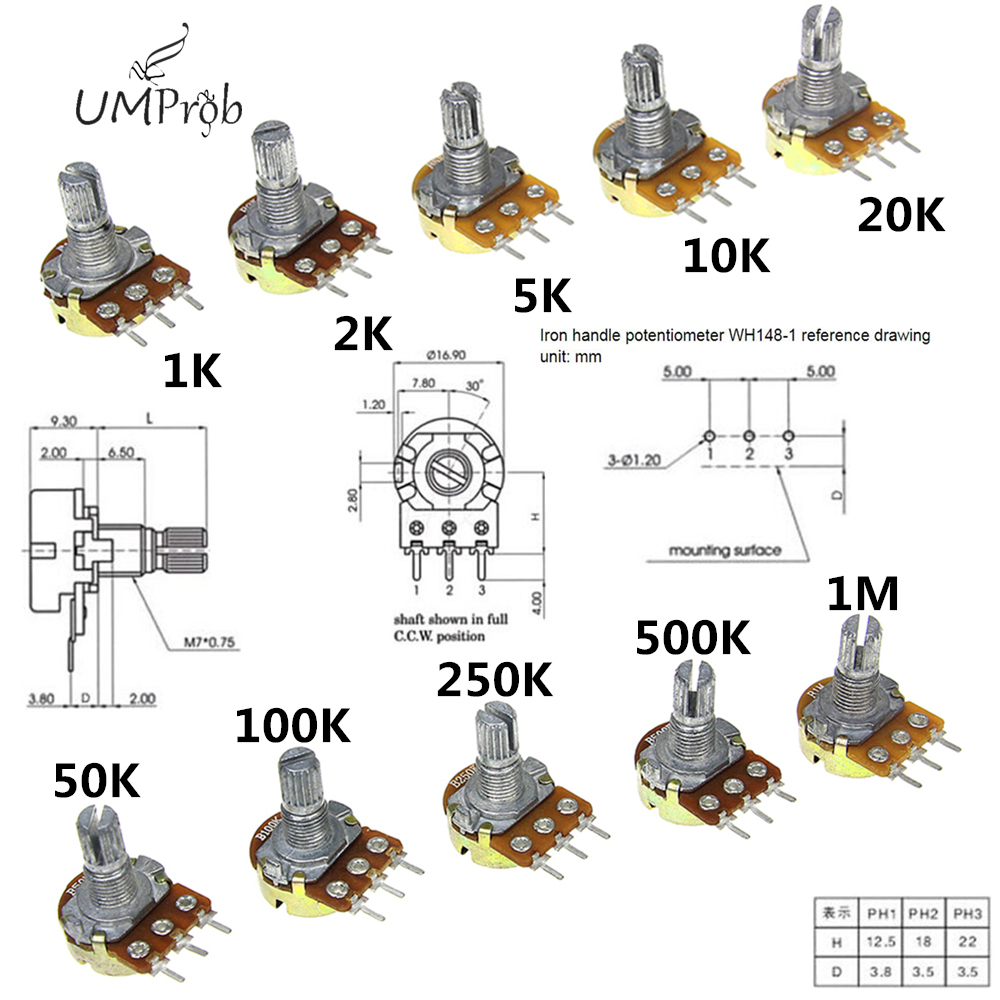 Linear-Potentiometer B100K B250K B1K B5K WH148 B2K Shaft 3pin B1M 10pcs 15mm With Nuts