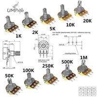 10Pcs WH148 Linear Potentiometer B1K B2K B5K B10K B20K B50K B100K B250K B500K B1M 15mm Shaft With Nuts  Washers 3pin WH148
