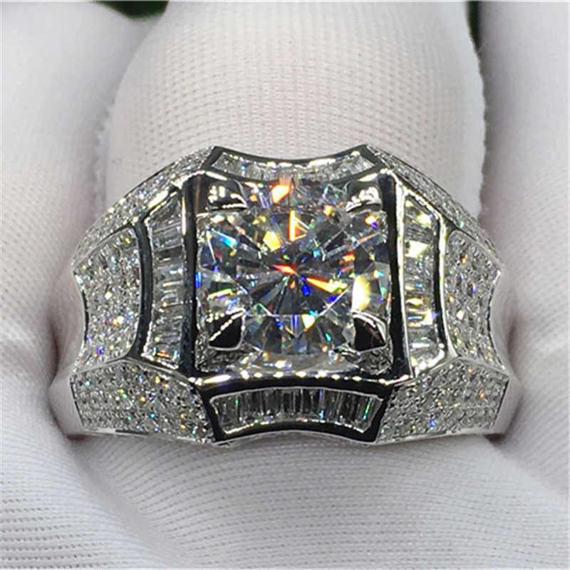 14 18kゴールド 3 カラットダイヤモンドリング男性のためのロック 14 18kゴールドジュエリーanillo esmaltadoシルバー 925 ジュエリーバゲマントbizuteriaリング