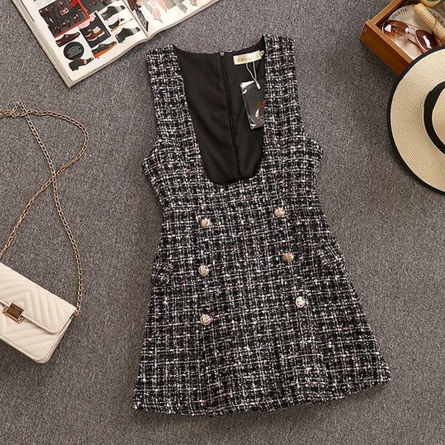 2020 Autumn Winter 2 Piece Set Overalls Dress Women Elegant Ruffles Chiffon Bow Shirt Top+Double Breasted Plaid Tweed Vest Dress 4