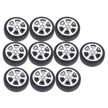 30mm Plastic 5 Spoke Front & Rear Wheel & Rubber Tires for RC Car, Set of 10 image