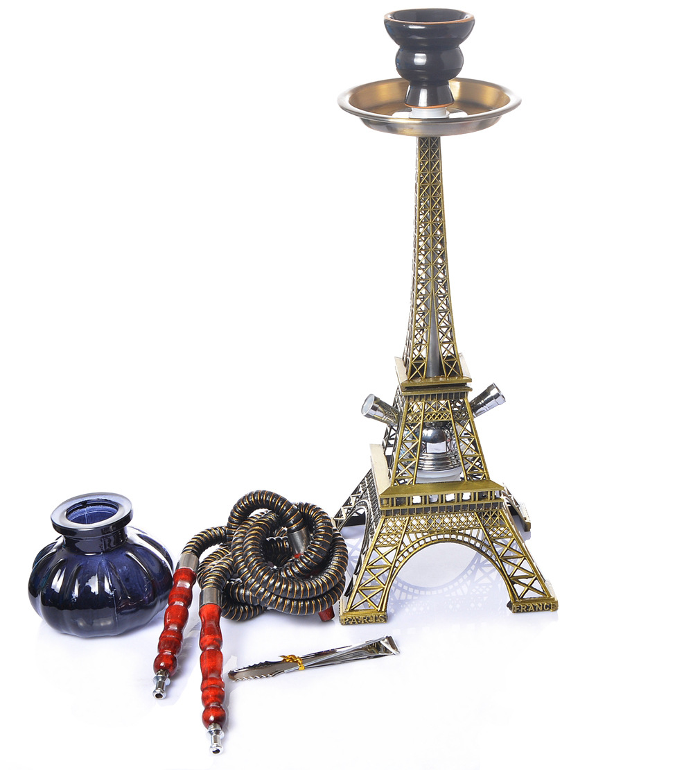 Eiffel Tower Hookah Double Pipe Hookah Set  Dry  Smoking Accessories for Weed Cute for Girls  Bowls   Bong 2