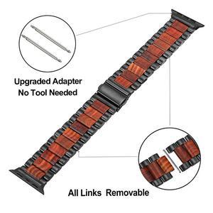 Image 3 - טבע עץ & נירוסטה רצועת השעון עבור iWatch אפל שעון סדרת 5 4 3 2 1 44mm 42mm 40mm 38mm אדום אלמוג להקת רצועה