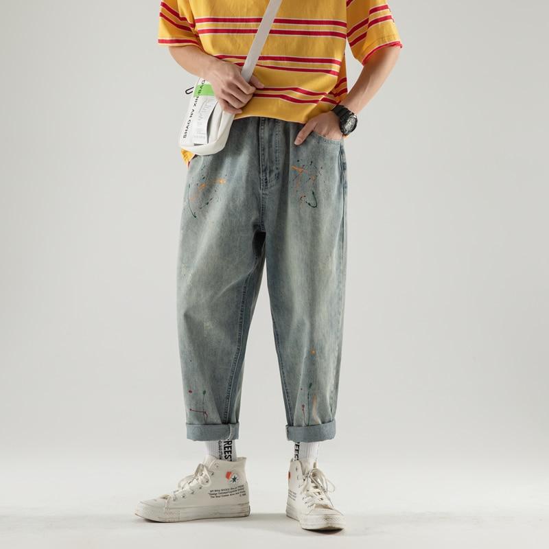 2019 Autumn Men's Trend Ink Leisure Baggy Homme Classic Cargo Pocket Jeans Mens Blue Casual Pants Male Biker Denim Trousers