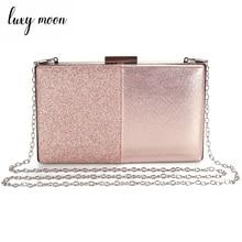 Kadın akşam el çantası pembe debriyaj çanta ve çanta Patchwork tasarım deri kadın çanta düğün çantası ZD1178