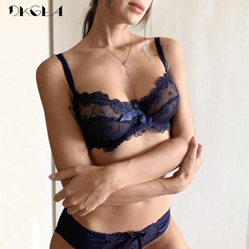 Fashion embroidery bras underwear women set plus size lingerie sexy C D cup Ultrathin transparent bra panties lace bra set black 2